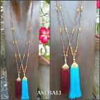 2color tassels gold caps necklaces pendant mix beads bali design