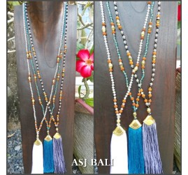 3color tassels gold caps necklaces pendant mix beaded bali design