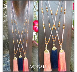 3color tassels gold caps necklaces pendant mix beads fashion