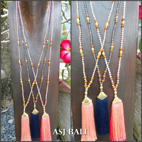 3color tassels gold caps necklaces pendant mix beads fashion