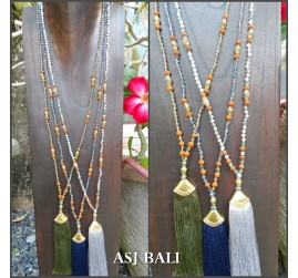 3color tassels gold caps necklaces pendant mix beads handmade