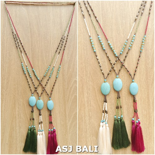 bead necklaces long strand tassels pendant turquoise stone 2color