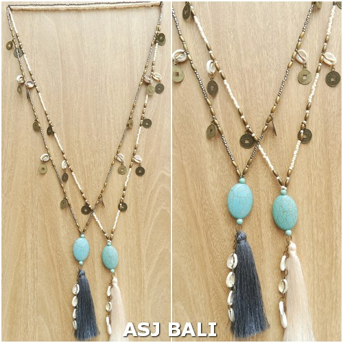 beaded strand necklaces tassels pendant turquoise stone 2color