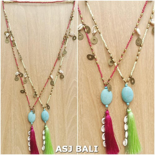 beading necklaces long seed tassels pendant turquoise stone 2color