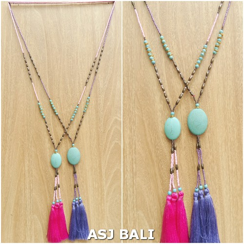 beads necklaces tassels pendant turquoise stone 2color