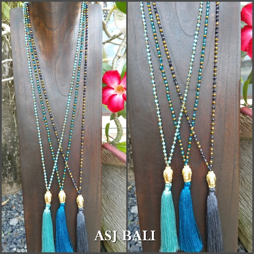 buddha head golden bronze tassels necklaces crystal beads 3color