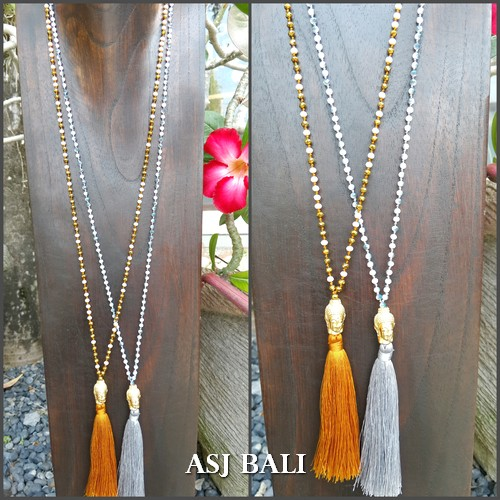 buddha heads golden bronze necklaces mix crystal beads 2color