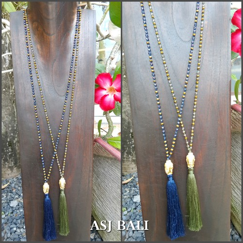 buddha head golden bronze tassels necklaces crystal beads 2color