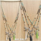 charm tassels pendant mix strand bead tassels necklaces 3color fashion