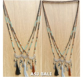 charming tassels pendant necklaces mix seeds bead 3color fashion accessories