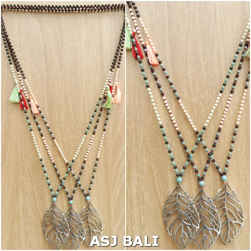 chrome leaves pendant necklaces tassels stone bead mix fashion