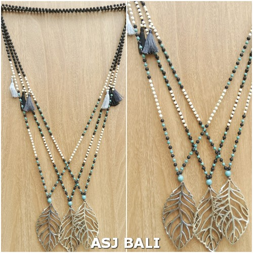 chrome leaves pendant necklaces with tassels stone bead