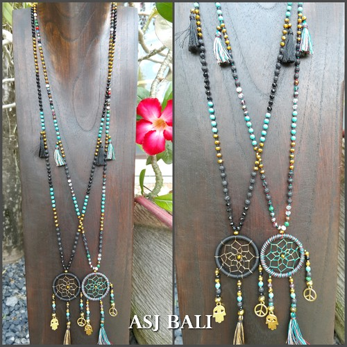 dream catcher necklaces pendant charm stone beads bali design