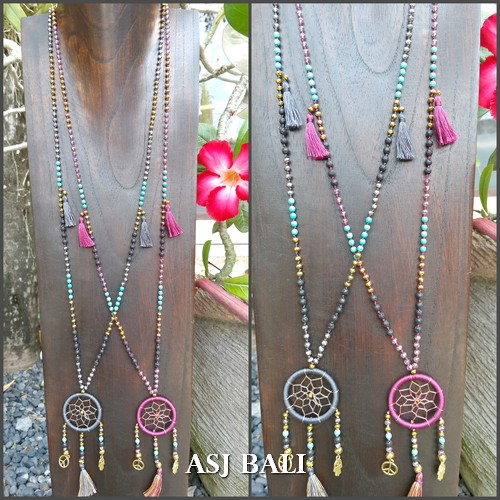 dream catcher necklaces pendant charm stone beads handmade