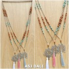 elegant style tassels necklaces pendant tree caps mix beads fashion