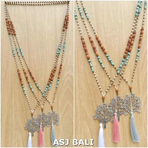elegant style tassels necklaces pendant tree caps mix beads fashion