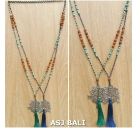 elegant style tassels necklaces pendant tree chrome combination