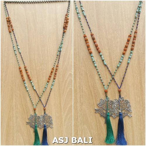 elegant style tassels necklaces pendant tree chrome combination