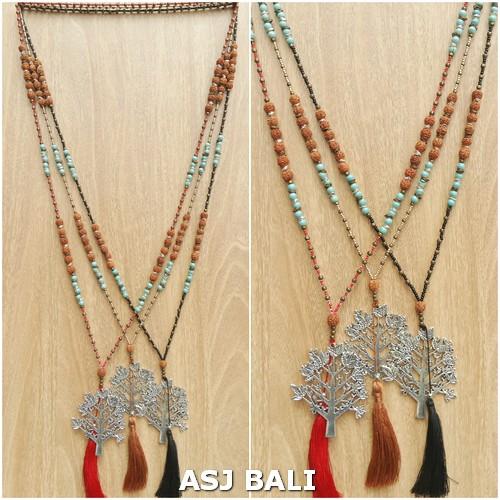 elegant style tassels necklaces pendant tree chrome mix beads fashion