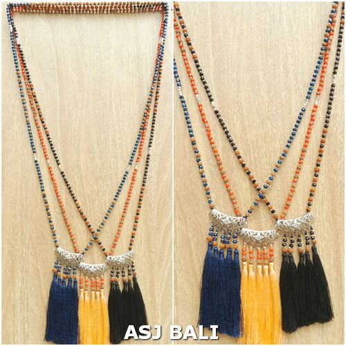 indiana style necklaces pendant tassels mix beads 3color