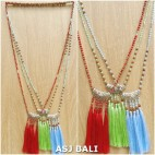 indiana style necklaces tassels mix beads 3color fashion