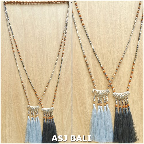 indiana style necklaces tassels pendant mix beads 2color fashion