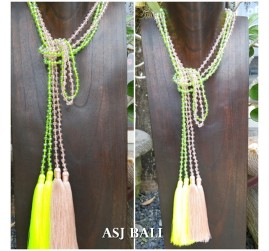 long crystal beads tassels necklaces pendant scarves design 2color