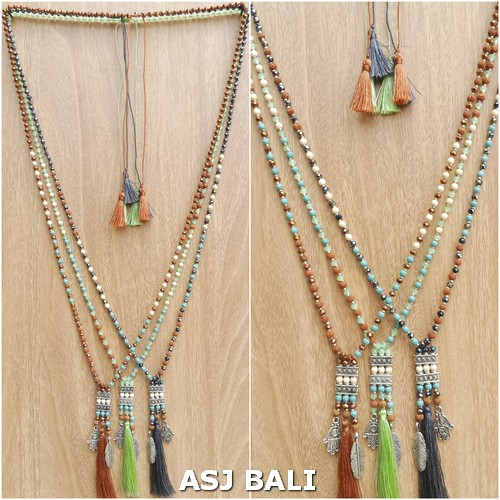 mix beaded tassels pendant necklaces charms 3color indian style