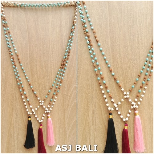 mix beaded turquoise rudraksha stone necklaces tassels pendant 3color