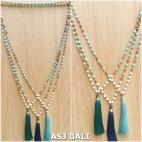 mix beading turquoise rudraksha stone necklaces tassels pendant 3color