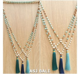 mix beading turquoise rudraksha stone necklaces tassels pendant 3color