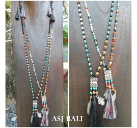 mix beads stone rudraksha tassels necklaces charms handmade