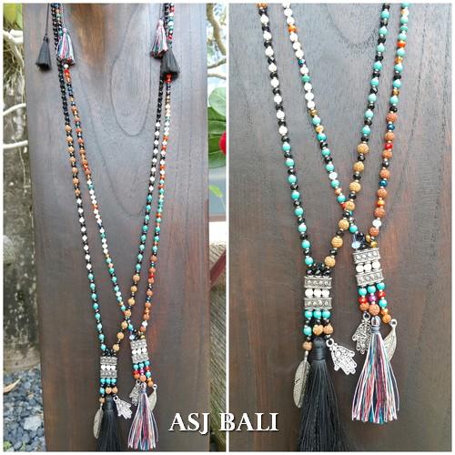 mix beads stone rudraksha tassels necklaces charms handmade