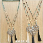 mix beads long strand tassels necklaces pendant with chrome carved