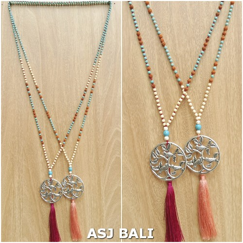 mix beads long strand necklaces pendant chrome carved 2color