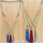 mix beads turquoise rudraksha stone necklaces tassels 3color