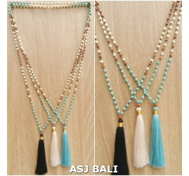 mixed beads strand turquoise rudraksha stone necklaces tassels pendant 3color