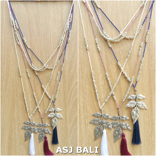 necklaces leaves chrome tassels pendant long strand silver beads fashion