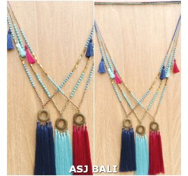 necklaces tassels pendant turquoise and golden mix bead 3color