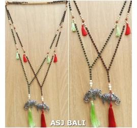 sea stone beads necklaces pendant elephant chrome carved 2color