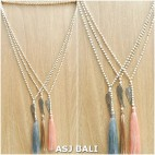 stone beads long tassels necklace pendant feather bronze 3color