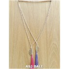 stone beads mono strand long tassels necklace pendant feather bronze