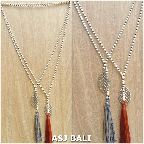 stone beads single strand long tassels necklace pendant feather bronze