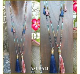 stone beads tassels necklaces pendant buddha head bronze