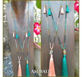stone beads tassels necklaces pendant buddha head bronze 2color