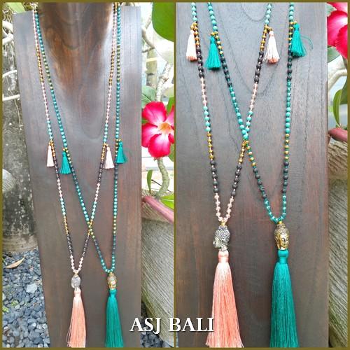 stone beads tassels necklaces pendant buddha head bronze 2color