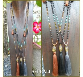 stone beads tassels necklaces pendant buddha head bronze 3color