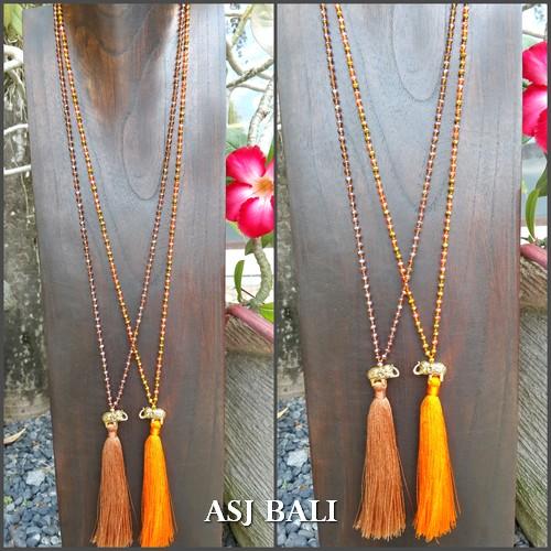 tassels necklace elephant golden bronze long seeds crystal beads