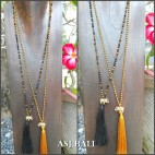 tassels necklace elephant bronze long strand crystal beads 2color
