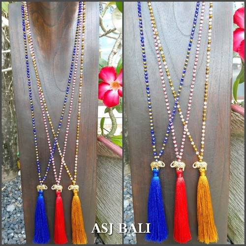 tassel necklace elephant golden bronze long strand crystal beads